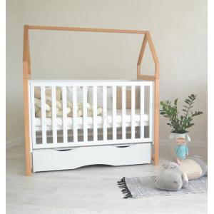 Детская кроватка Angelo Домик бело-буковый