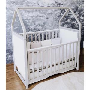 Детская кроватка Angelo Домик бело-серая