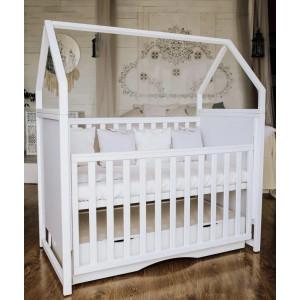 Детская кроватка Angelo Домик белая
