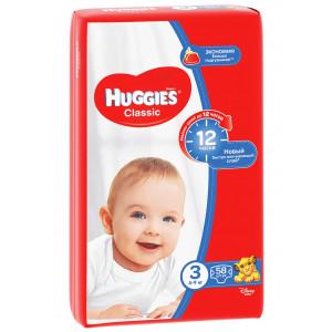 Подгузники Huggies Classic (3) 58 шт (43109)