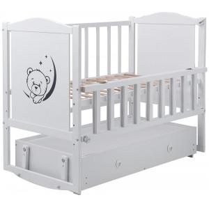 Кроватка Babyroom Тедди (Т-03) фигурное быльце, маятник, ящик, откидной бок, белый