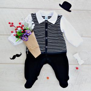 Комбинезон Minikin Джентельмен малыш р.56 черный (21510456)