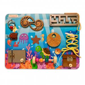 Бизиборд Kidsori Океан + меловая доска 40x30 см (KR-20-313)