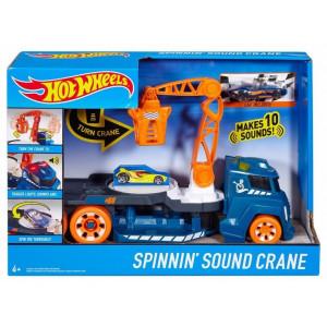 Hot Wheels Spinnin Sound Crane DJC70 (Грузовик Хот Вилс с краном и со звуковыми эфектами DJC69)