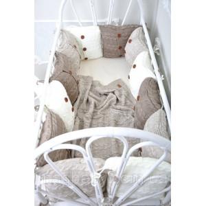 Комплект вязаных бортиков в кроватку MagBaby бежевый