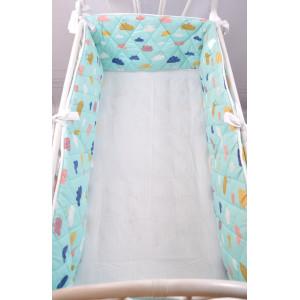 Бортик-защита в кроватку MagBaby Улитка Облачка на бирюзе на всю кроватку